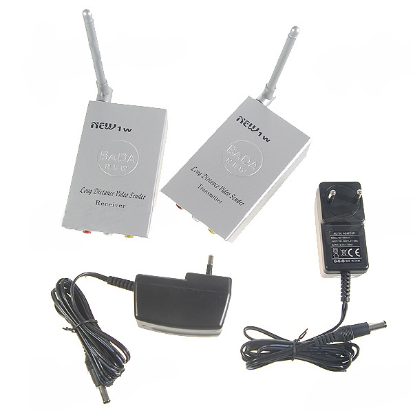 2.4GHz 1W Wireless Audio Video AV Transmitter Sender Receiver For CCTV Camera VCR DVD